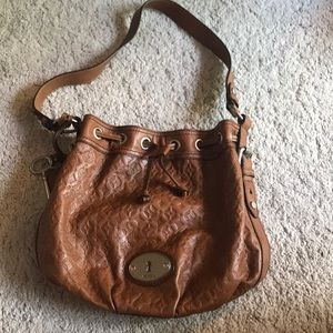 Fossil Embossed Drawstring Bucket Bag